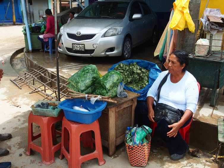 Peruvian woman sitting at a staff offering bags of coca for chewing.