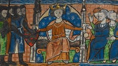 A painting of a jury trial in medieval England.
