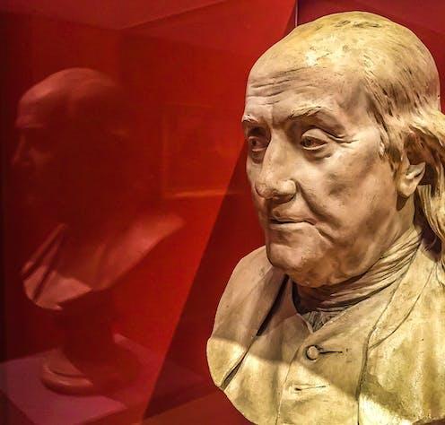 A bust of Benjamin Franklin.