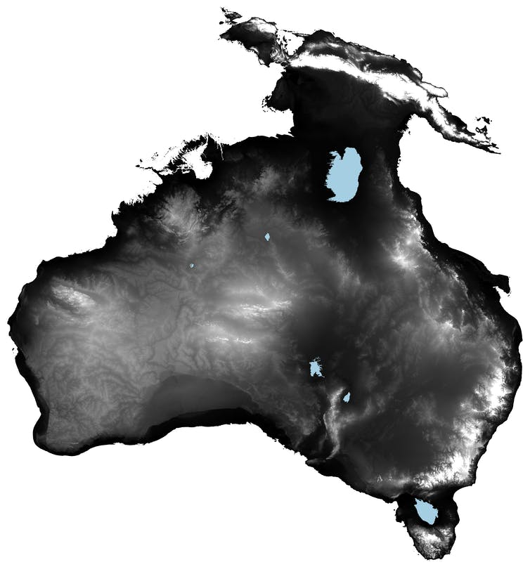 A map showing a much larger landmass as Australia is joined to both Tasmania and New Guinea due to lower sea levels