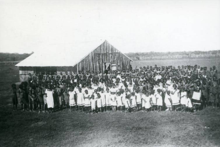 Outside the Church at Oenpelli, c.1930, Northern Territory Archives Service.