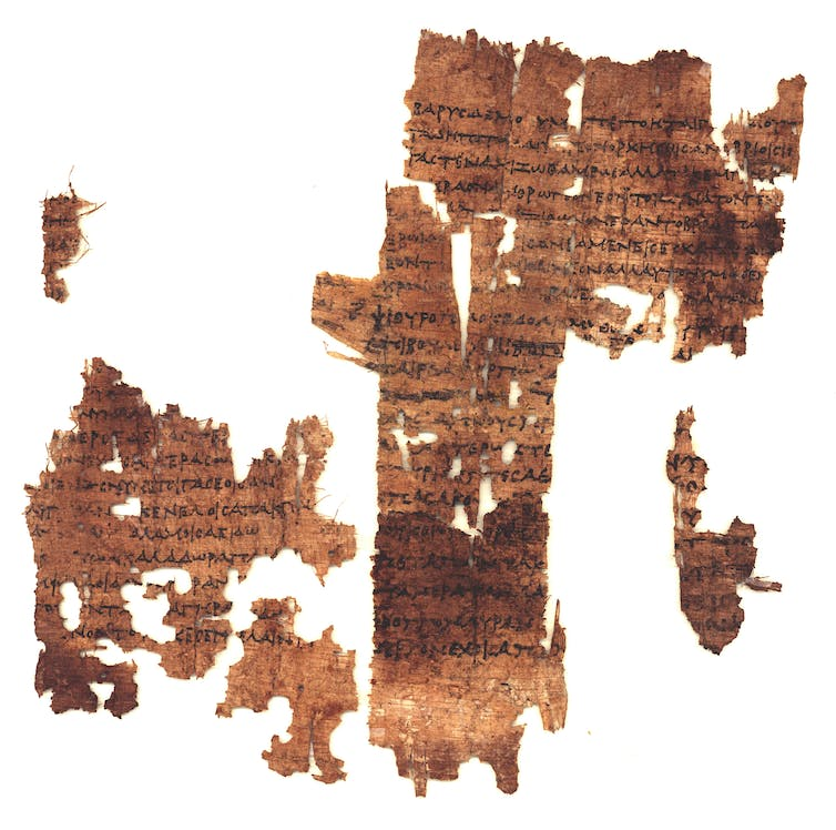 Fragment containing Sappho poetry discovered in 2004.