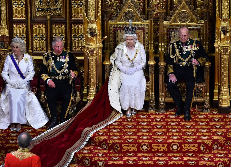 Queen Elizabeth at the opening of British Parliament.