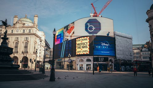Piccadilly Circus in London during lockdown