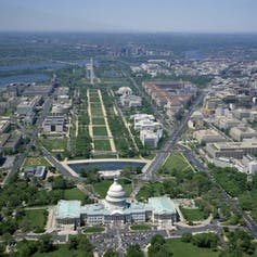 Aerial shot of the Capitol with the Mall in front of it
