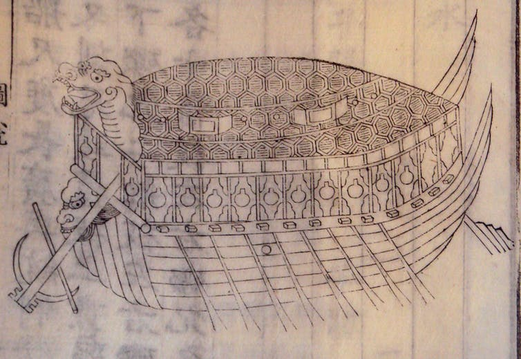Wood block print of a half boat half turtle contraption.
