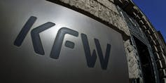 The KfW logo on the side of a building.