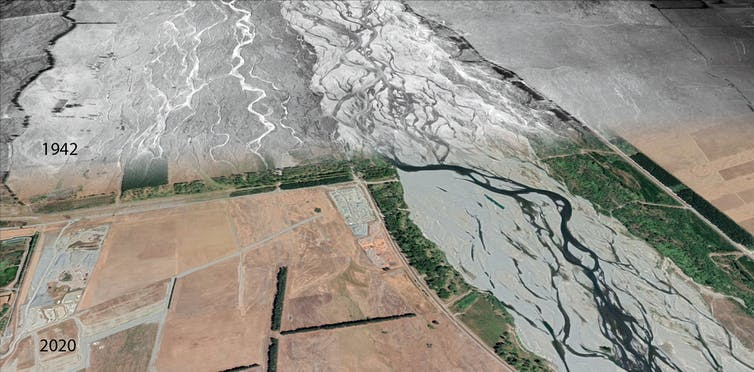Changing flows of the braided Waimakariri river between 1942 and 2020.