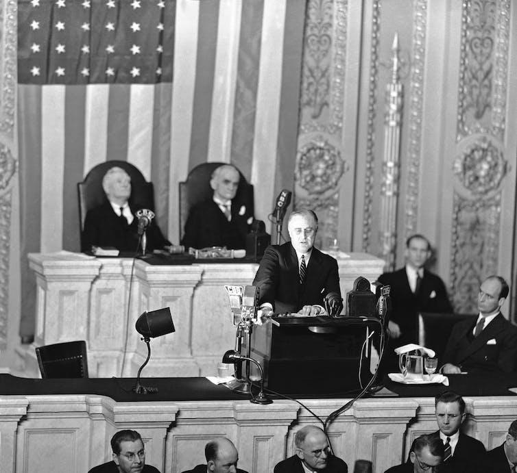 Franklin D. Roosevelt addresses the nation in 1936