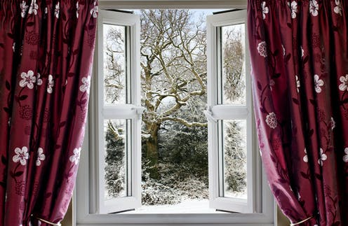 A window opens onto a snowy landscape.