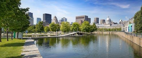 Urban waterfront park in Montréal