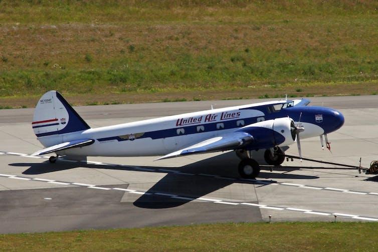 Boeing 247 aeroplane on the runway