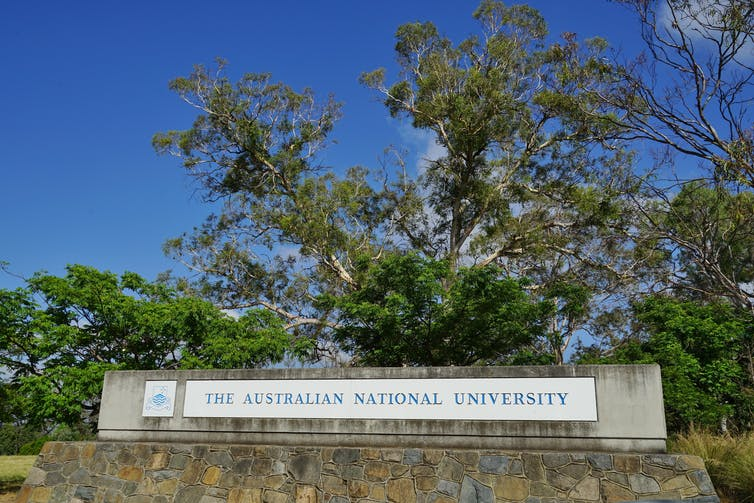 Australian National University sign on Canberra campus