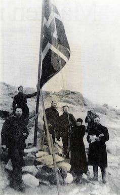 Caroline Mikkelsen raising Norwegian flag