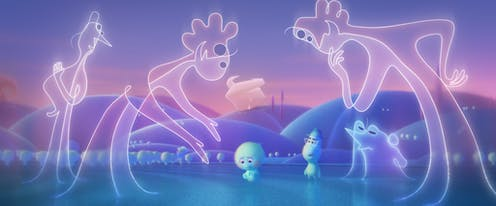 Animation of two blue souls surrounded  by line figure people in Pixar's Soul.