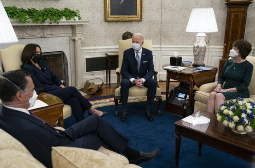 Biden and Harris meet with GOP senators about the COVID relief bill
