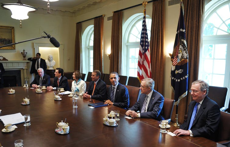 President Obama meeting with congressional GOP leaders in 2011