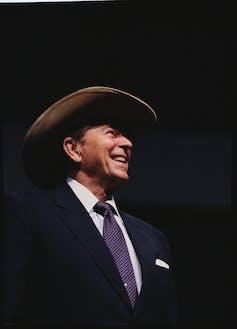 Ronald Regan wearing a cowboy hat