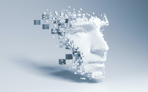 A 3D pixelated model of a human face.