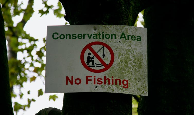 A no-fishing sign in a conservation area.
