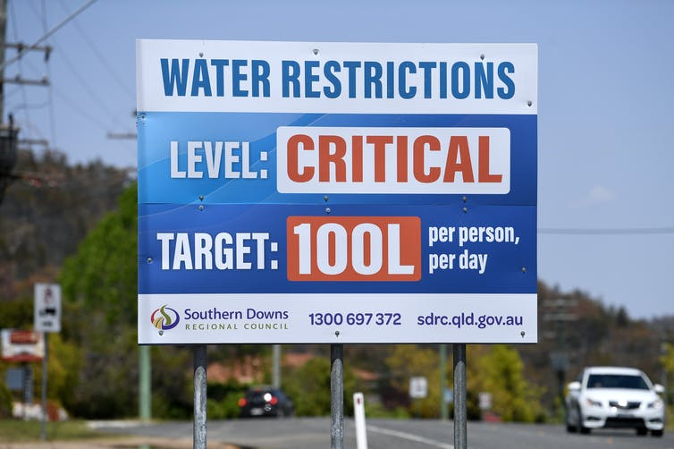 A sign that says 'water restrictions, level: critical, target: 100L'