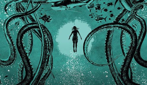 A comic-style illustration in blue and black: a human form with dreadlocks floats upward toward a circle of light, around them tentacles and sea creatures.