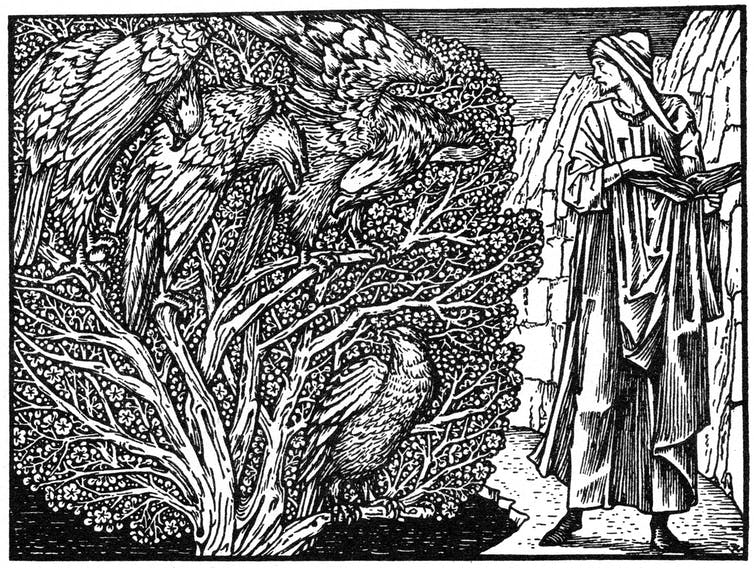 An engraving of four eagles in a tree as depicted in Geoffrey Chaucer's 'Parliament of Fowls'