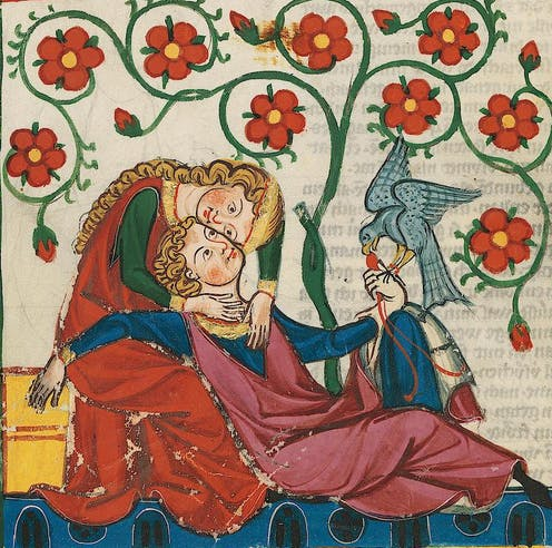 Two lovers depicted on a medieval tapestry.