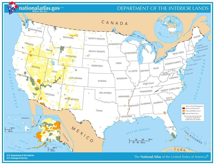 Map of public lands managed by the Interior Department.
