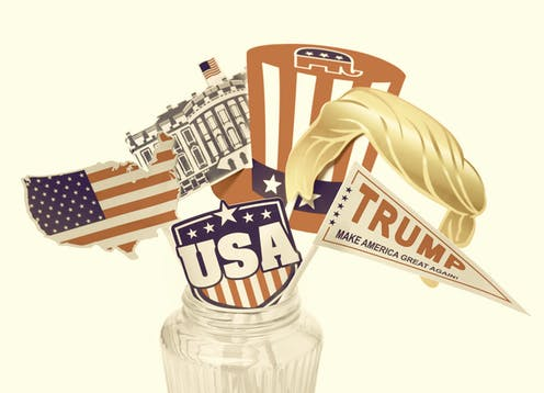 Drawing of a glass jar with Trump props sticking out, like his hair, a Trump flag, and a hat