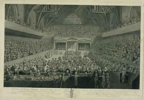 The impeachment trial of Warren Hastings in 1788