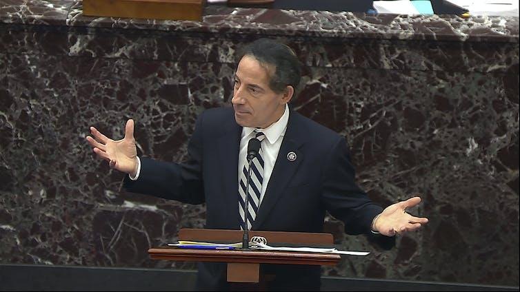 Rep. Jamie Raskin gestures during the Trump impeachment trial