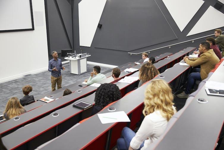 half-empty lecture theatre