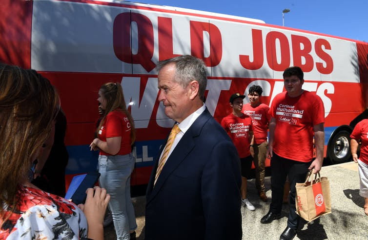 Ex-Labor leader Bill Shorten campaigning in Queensland in 2019.