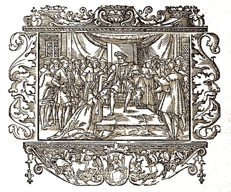 line drawing of royal court scene
