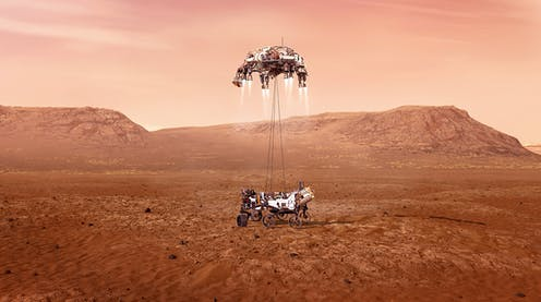 Artist impression of a the Perseverance rover landing on Mars