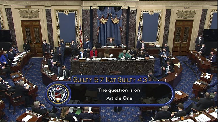 Screenshot of Senate impeachment vote tally, 57-43