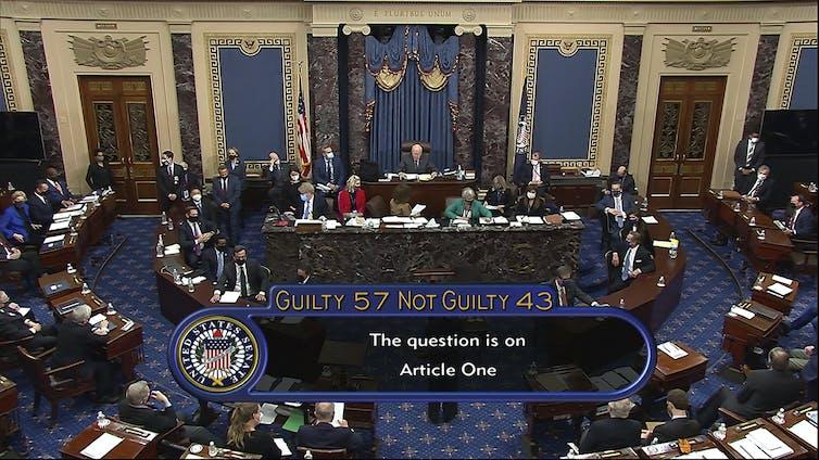 Captura de pantalla del recuento de votos de juicio político en el Senado, 57-43