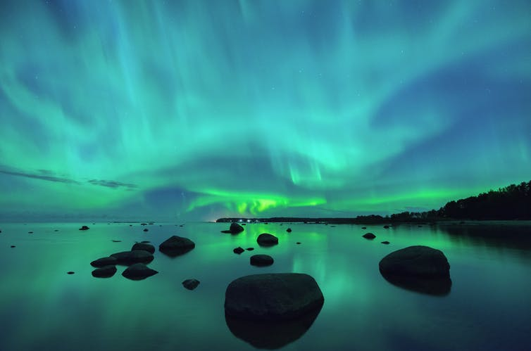 Aurora borealis over the Gulf of Finland.