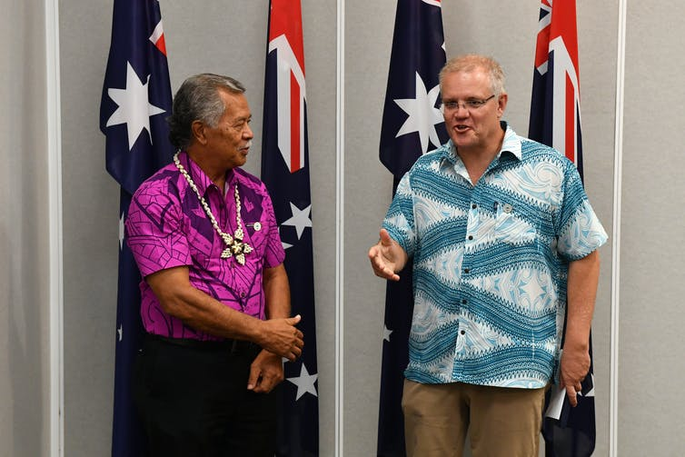 Then Cook Islands Prime Minister, Henry Puna and Australian Prime Minister Scott Morrison in 2019