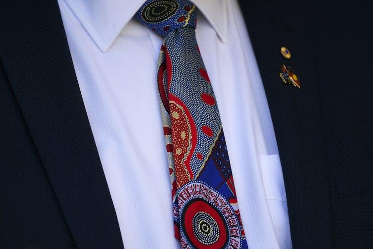 Tie with Indigenous art design