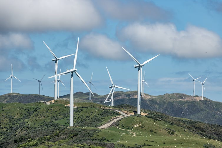 Several windmills on a hillside in New Zealand.