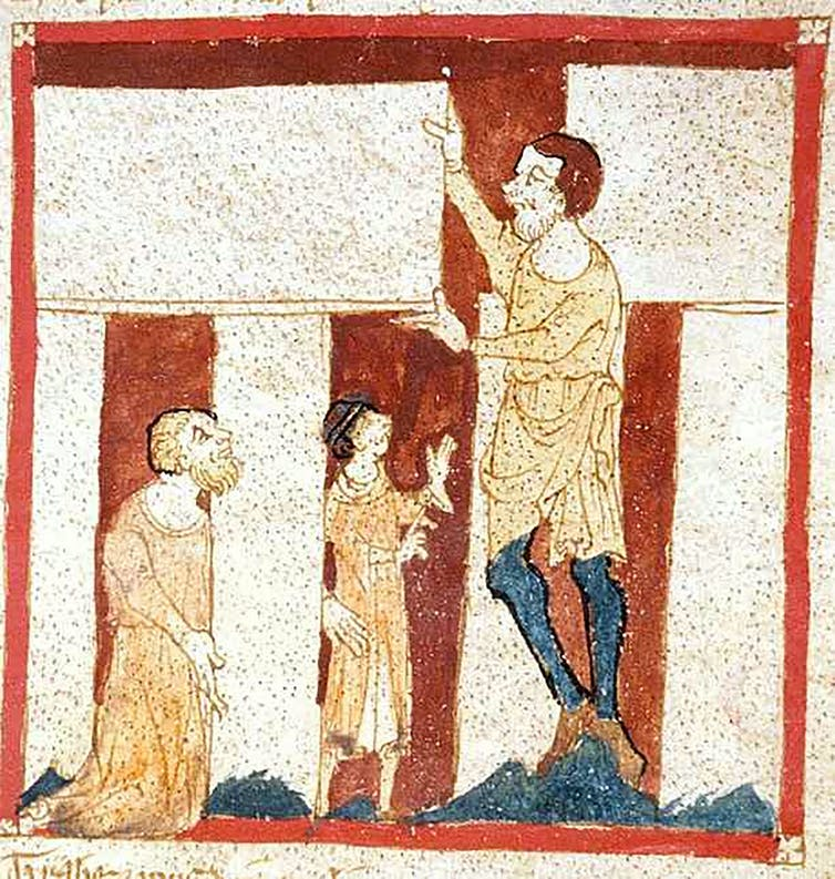 A medieval painting showing three figures