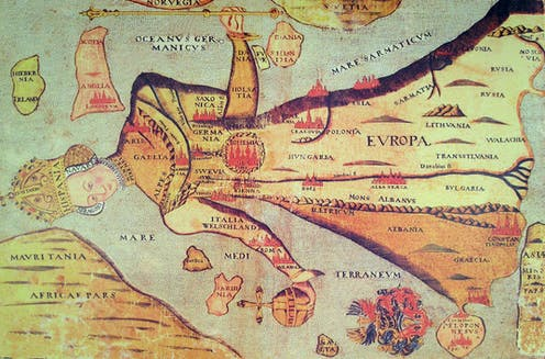 A 16th-century map of the world depicting the European continent in the shape of a queen.