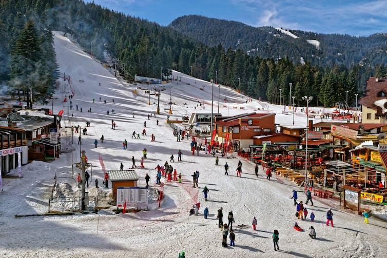 Busy ski resort.