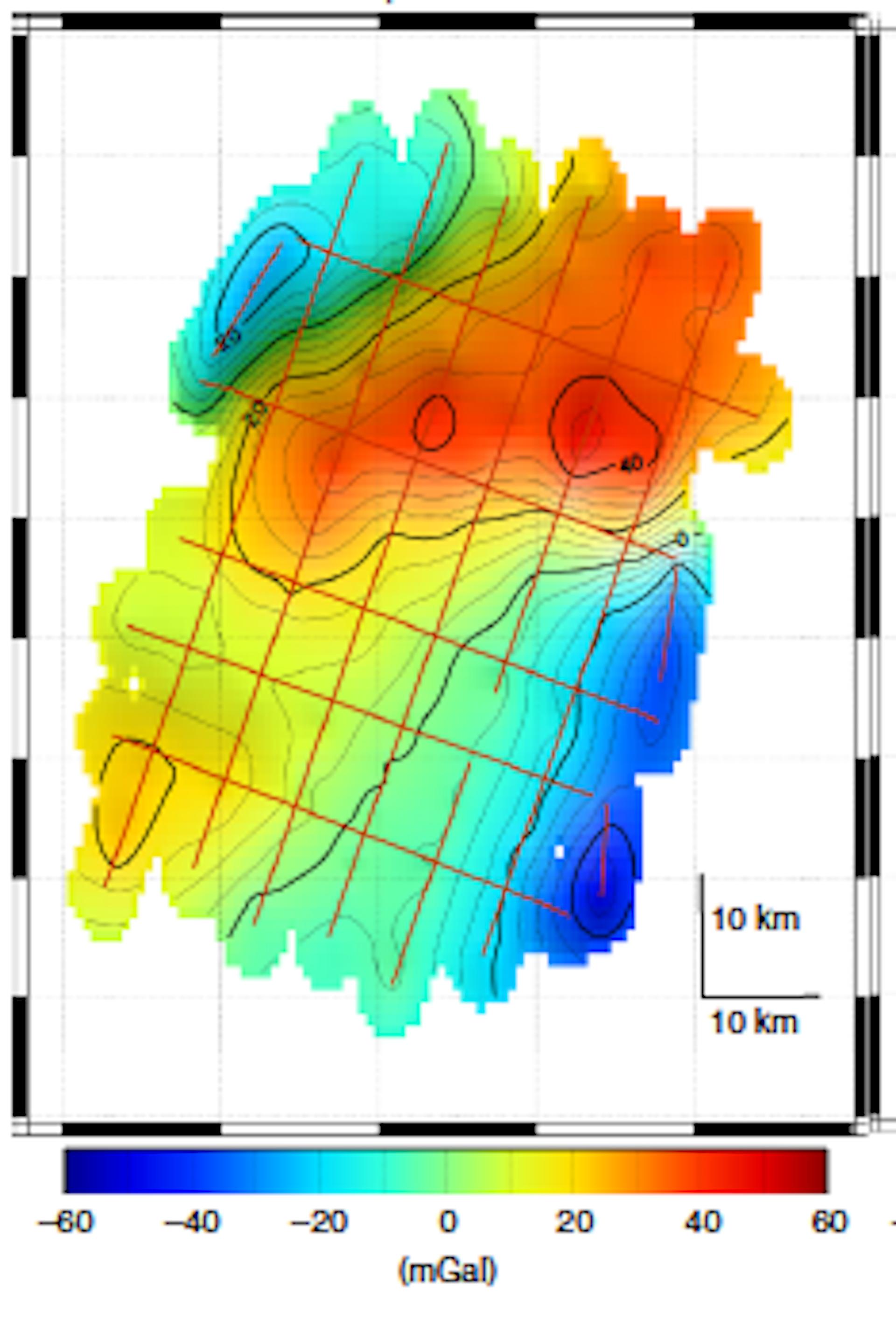 Carte de pesanteur dans la zone de Meriadzec (Atlantique Nord). Les lignes rouges correspondent à la trajectoire du BHO. 1mGal=0,000 001 g. Malo Cadoret, Author provided