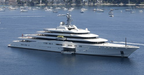 A superyacht known as the eclipse sails near Nice, France