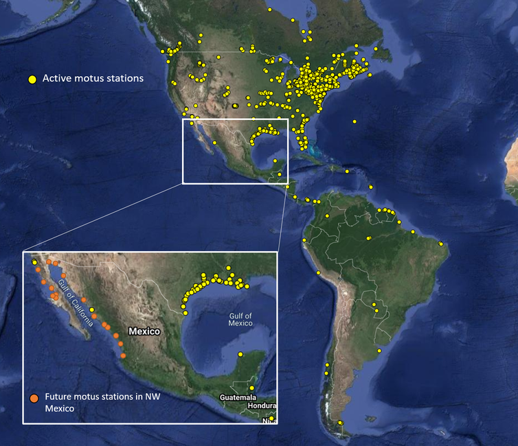 A map of existing Motus stations covering much of North America and showing planned stations in northwest Mexico.