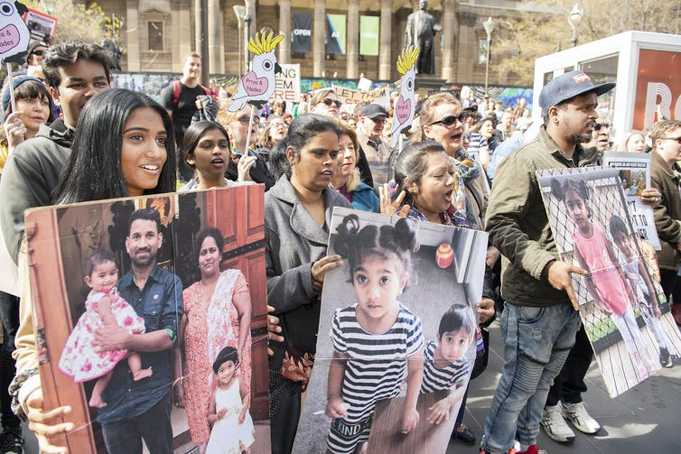 A rally in support of the family in Melbourne in 2019.