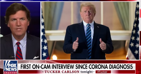 Donald Trump appearing on Fox News host Tucker Carlson's show after contracting COVID-19, just under a month before the US election.